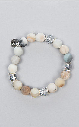 Laminin Creek Bed Matte Amazonite Beaded with Stone Bracelet