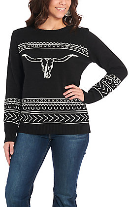 Cotton & Rye Outfitters Women's Black Steer Sweater