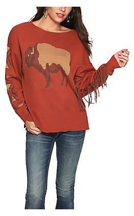 Cotton & Rye Women's Rust Buffalo Aztec with Fringe Long Sleeve Sweater