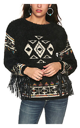 Cotton & Rye Women's Black with White Aztec and Faux Leather Long Sleeve Eyelash Sweater