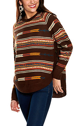 Cotton & Rye Women's Brown Multi-Striped with Conchos and Tassels Long Sleeve Sweater