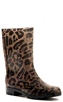 Corkys Women's Leopard Print Round Toe Rainboots