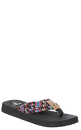 Corkys Women's Black Multi-Color Shoestring Flip Flops