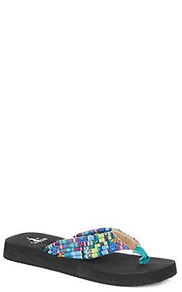 Corkys Women's Turquoise Multi-Color Shoestring Flip Flops