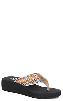 Corkys Women's Calloway Bright Multi-Color Aztec Fabric Flip Flops