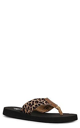 Corkys Women's Brazil Cheetah Print Flip Flops