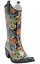 Corky's Women's Paisley Multi Color Rodeo Snip Toe Rain Boots