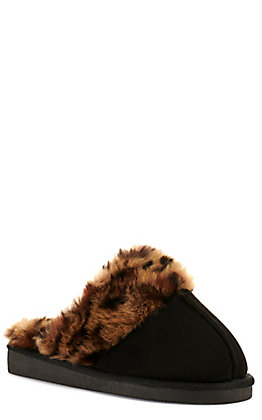Corkys Women's Snooze Black Faux Suede with Leopard Print Fur Slippers