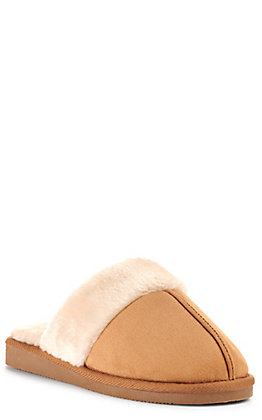 Corkys Women's Snooze Chestnut Faux Suede with Fur Slippers