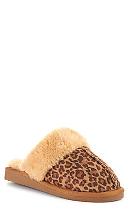Corkys Women's Snooze Brown Leopard Print Faux Suede with Fur Slippers