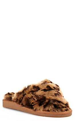 Corkys Women's Leopard Print Faux Fur X-Band Open Toe Slippers