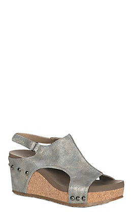Corkys Footwear Women's Pewter Ingrid Faux Leather Sandal Wedge