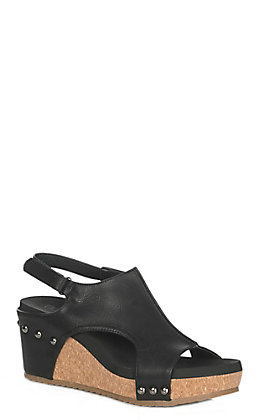 Corkys Women's Carley Black Faux Leather Wedge Sandals