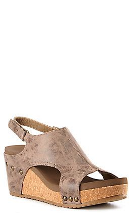 Corkys Women's Carley Distressed Brown Faux Leather Wedge Sandals