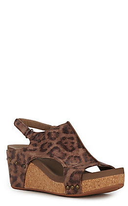 Corky's Carley Women's Distressed Leopard Print Faux Leather Wedge Sandals