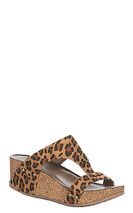Corky's Lilo Women's Faux Suede Leopard Wedge Sandals