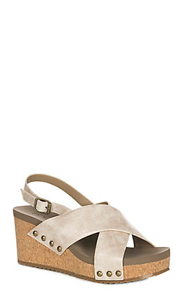 Corkys Teresa Women's Ivory Gold Faux Leather Wedge Sandals