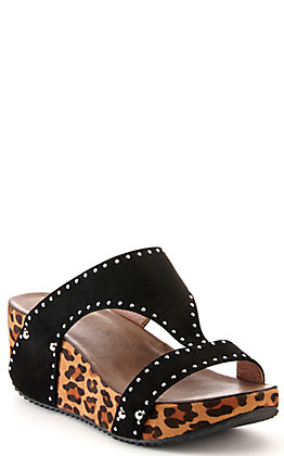 Corkys Women's Funkytime Black and Leopard Studded Wedge Sandals