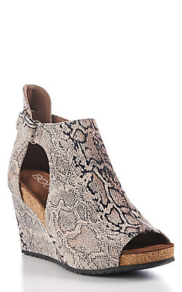 Corky's Women's Black & White Snake Print Wedge Sandals
