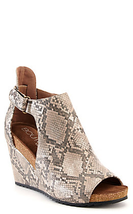 Corkys Women's Sunburst Metallic Taupe Snake Print Wedge Sandals