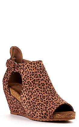 Corkys Women's Sunburst II Leopard Print Faux Suede Peep Toe Wedge Sandal