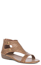 Corkys Womens Franky Brown Gladiator w/ Laser Cuts Sandals