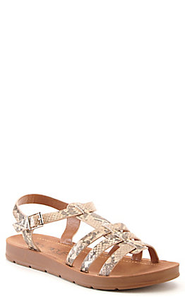 Corkys Women's Oakdale Taupe Snake Print Strappy Wedge Sandal