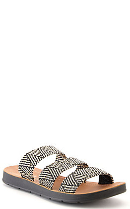 Corkys Women's Dafne Black and Natural Woven Straps Slip On Sandals