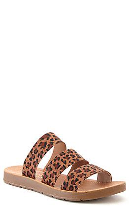 Corkys Women's Dafne Leopard Print Elastic Straps Slip On Sandals
