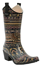 Corky's Women's Aztec Rodeo Multi Color Snip Toe Rain Boots