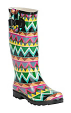 Corky's Women's Bright Multicolor Chevron Round Toe Rain Boots