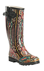 Corky's Women's Multi Colored Victorian Round Toe Rain Boot