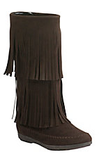 Corky's Women's Mohawk Dark Brown with Fringe Round Toe Moccasin Boots
