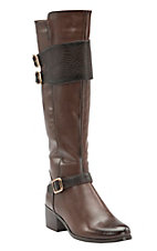 Corky's Women's Wyatt Brown w/Croc Print Strap Buckle Tall Fashion Boots
