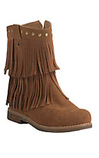 Corky's Women's Kato Chestnut with Fringe Round Toe Booties