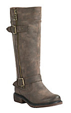 Corky's Women's Angelina Distressed Brown w/ Side Zip & Buckles Tall Round Toe Boots