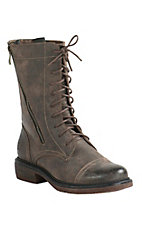 Corky's Women's Cassie Distessed Brown with Double Zipper Round Toe Laced Booties