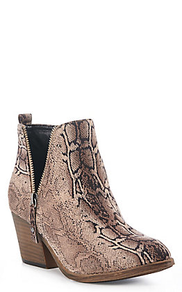 Corky's Women's Brown Faux Snake Round Toe Booties