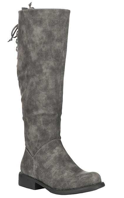 reputable site 8b3db 1d957 Corky's Women's Ventura Grey Distressed Faux Suede Riding Boot