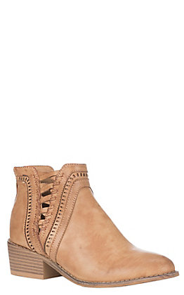 Corky's Boutique Women's Camel Faux Leather Double V Design Round Toe Booties