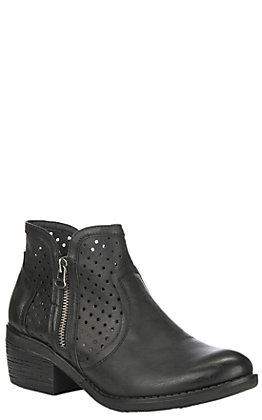 Corky's Bismark Black Faux Leather Diamond Cutout Round Toe Booties