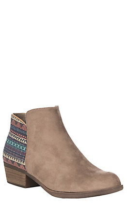 Boutique by Corkys Taupe with Aztec Tapestry Accent Faux Suede Booties