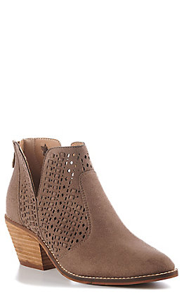 Corky's Katalla Women's Taupe Faux Suede Lace V-Cut Round Toe Booties
