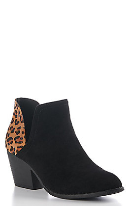 Corkys Women's Kippi Black and Leopard Round Toe Booties