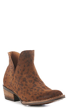 Corky's Depo Women's Leopard Print Leather V-Cut Round Toe Booties