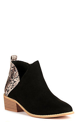 Corkys Women's Port Black and Snake Print Booties