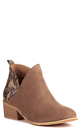 Corkys Women's Port Taupe Brown and Snake Print Booties