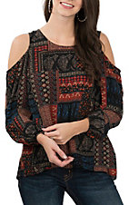 Moa Moa Women's Patchwork Cold Shoulder Fashion Shirt