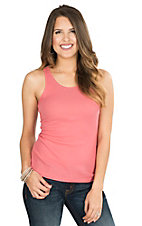Pink Cattlelac Women's Coral with Silver Rhinestone Embellishments Sleeveless Casual Knit Tank Top