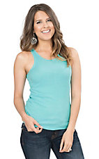 Pink Cattlelac Women's Aqua with Silver Rhinestone Embellishments Sleeveless Casual Knit Tank Top